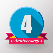 4 Anniversary label with ribbon — Stock Vector