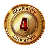 4 years warranty golden label — Stock Vector