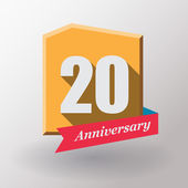 20 Anniversary label with ribbon — Stock Vector