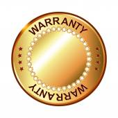 Warranty golden label with ribbon — Vettoriale Stock