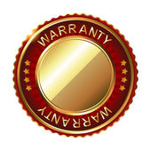 Warranty golden label with ribbon — Stock Vector