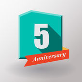 5 Anniversary label with ribbon — Stock Vector