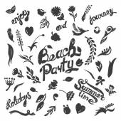 Beach party  Floral set — Wektor stockowy