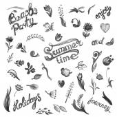 Beach party and summer time inscription — Vector de stock