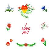 Floral set with I love you inscription — Stock Vector