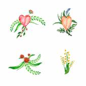 Floral set with watercolor flowers with hearts — Stock vektor