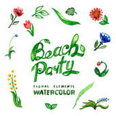 Beach party  Floral set — Stockvector