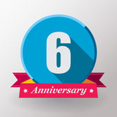 6 Anniversary label with ribbon — Stock Vector