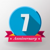 7 Anniversary label with ribbon — Stock Vector