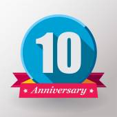 10 Anniversary label with ribbon — Stock Vector