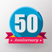50 Anniversary label with ribbon — Vettoriale Stock