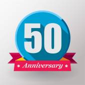 50 Anniversary label with ribbon — Stockvector