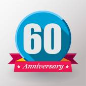 60 Anniversary label with ribbon — Stockvector