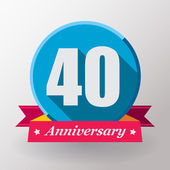 40 Anniversary label with ribbon — Stock Vector