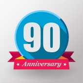 90 Anniversary label with ribbon — Stock Vector