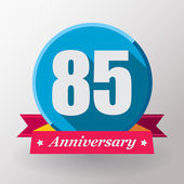 85 Anniversary label with ribbon — Stock Vector