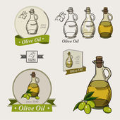 Set of olive oil labels and logos — Stock Vector
