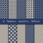 Seamless Geometric Patterns Set. — Stock Vector