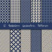 Naadloze geometrische patronen set. — Stockvector