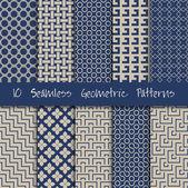 Nahtlose geometrische Muster-set. — Stockvektor