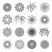 Beautiful Fireworks Set — Stock Vector