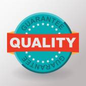 Quality guarantee flat label with ribbon — Stock Vector