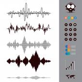 Sound waves set — Stock Vector