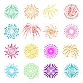 Beautiful Fireworks Set — Stock Vector