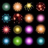 Schönes Feuerwerk-Set — Stockvektor