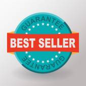 Best seller guarantee flat label — Stockvector