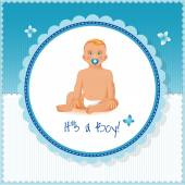Little boy sitting with soother — Stock Vector