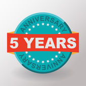 5 years anniversary label with ribbon — Stock Vector