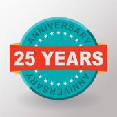 25 years anniversary label with ribbon — Stock Vector