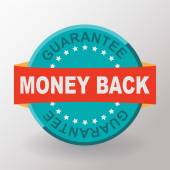 Money back guarantee flat label — Stock Vector