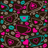 Seamless coffee cups pattern — Stock Vector