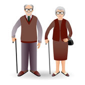 Handsome old man and woman — Stock Vector