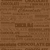 Seamless chocolate pattern with word of chocolate — Stock Vector