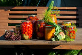 Marinated tomatoes on a table — ストック写真