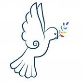 Bird or dove with color branch stylized. International Day of Peace. Peace symbol. Vector illustration. — Wektor stockowy