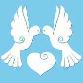 Two white paper birds doves with heart. International Day of Peace. Peace symbol. Vector illustration. — Wektor stockowy