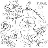 Hand drawn floral elements. Set of leaves and flowers. Black outline. Vector illustration. Design elements. — Stock Vector