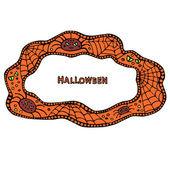 Quadro de Halloween com teia de aranha e de aranhas. mão desenhadas banners, ilustração vetorial. — Vetor de Stock