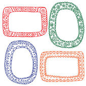 Set, picture frames, hand drawn banners, vector illustration. Openwork tags. Colorful outline. — Stock Vector