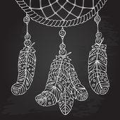Amulet Dream catcher. Hand-drawn illustration. Object of Native American culture. Chalk design. — Vecteur