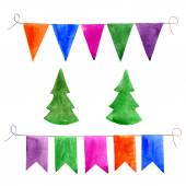 Watercolor. Bunting and garlands, vector illustration. — Stock Vector