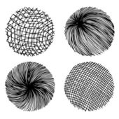 Hatching. Vector set, circles halftone. Can be used as a brush. — Stock Vector