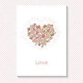 "Card for Valentine's Day. Flowers and hearts in the form of heart, the word ""love"". Vector illustration. Background with polka dots. — Stock Vector"