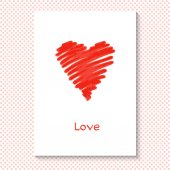 "Card for Valentine's Day. Heart and the word ""love"". Vector illustration. Background with polka dots. — Wektor stockowy"