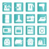 Home appliances, electronics icons. White signs on the blue gradient background. Vector set. — Stock Vector