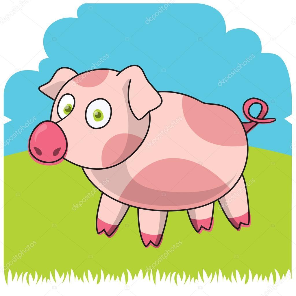 滑稽农场.卡通小猪.矢量图